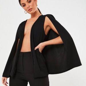 Black stretch crepe cape blazer